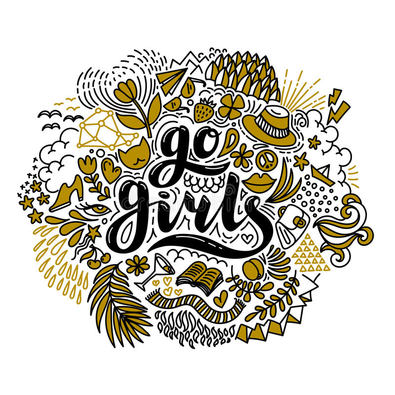 Go girls handrawn lettering and flowers in black and gold. Girl power. Feminism. Isolated on white background. Quote vector illustration