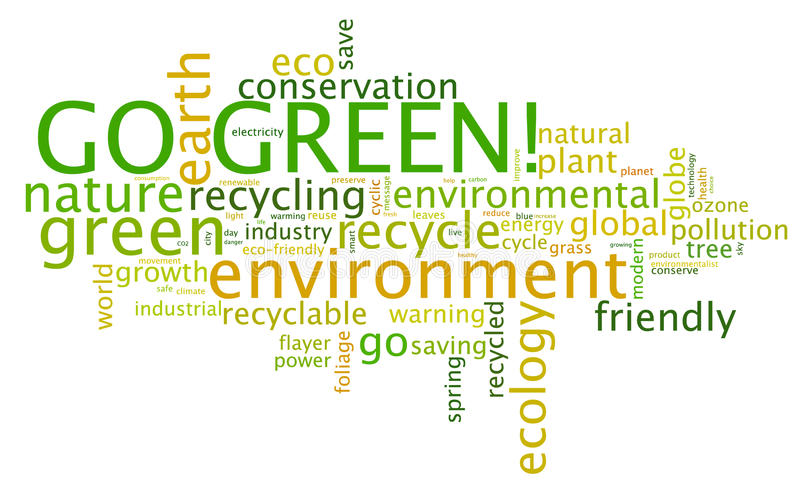 Go Green!. Go Green. Words cloud about environmental conservation