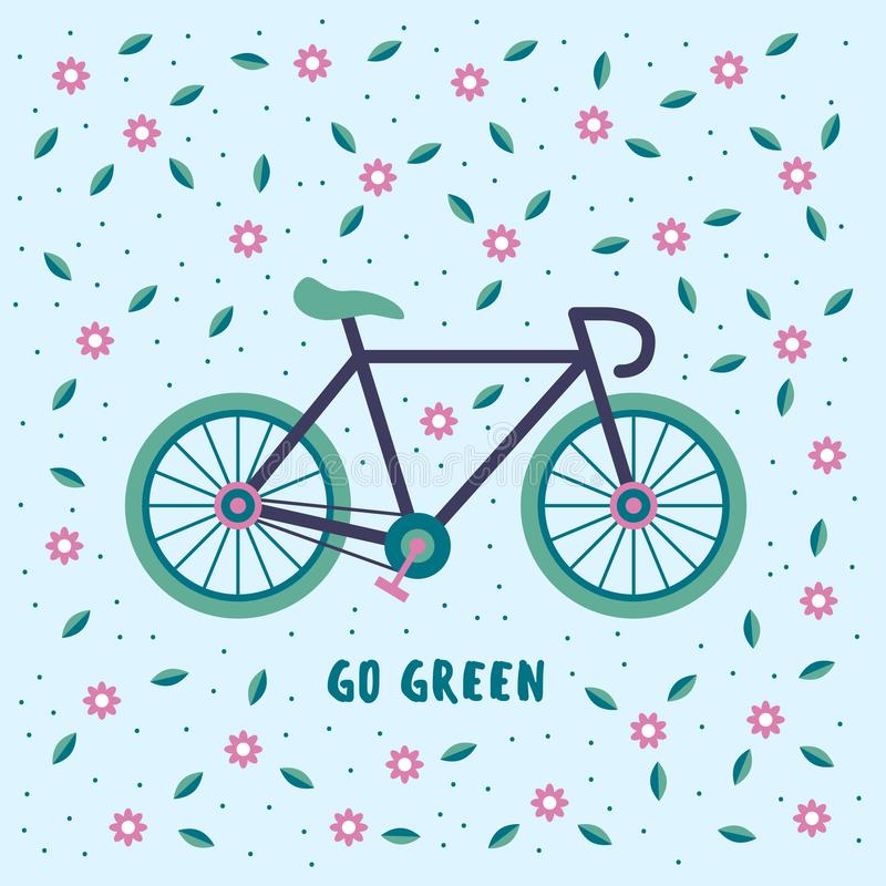 Go green, bicycle on a floral background. royalty free stock photography
