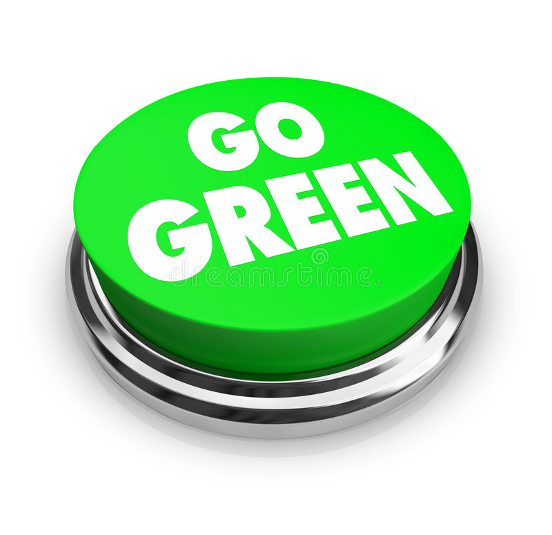 Go Green Button. A button with the words Go Green on it, symbolizing the environmental movement stock illustration