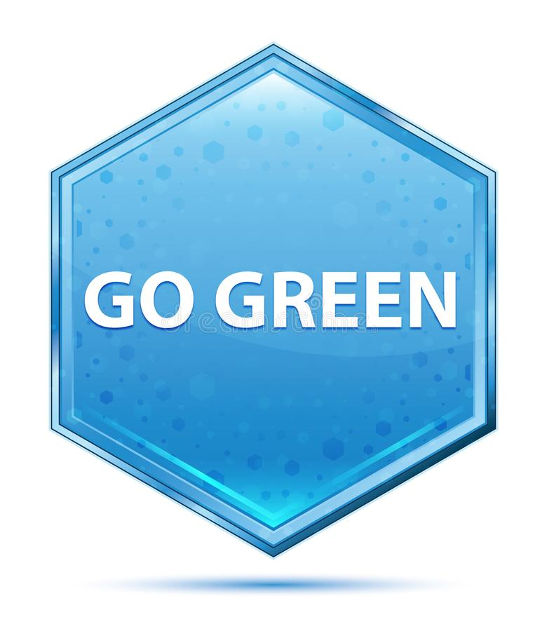 Go Green crystal blue hexagon button royalty free illustration