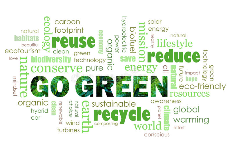 Go Green eco friendly concept royalty free illustration