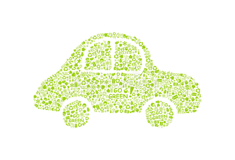 Download Go Green Eco Pattern On Car Silhouette Stock Vector - Image: 19006675