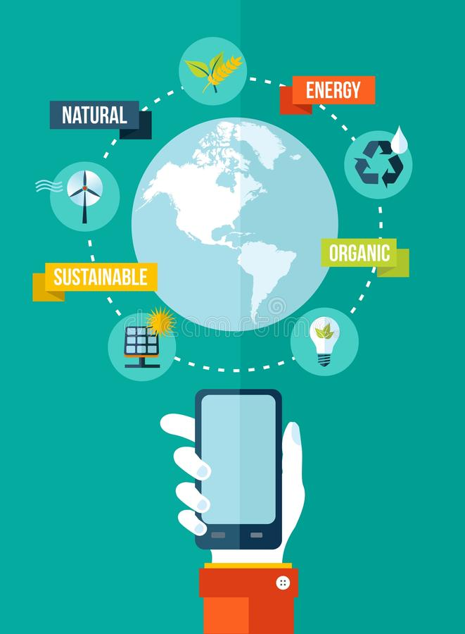 Go green global mobile app concept illustration stock photos