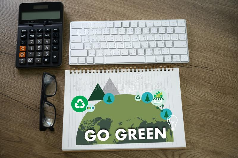 GO GREEN Life Preservation Protection Growth Project About Business Growth GO GREEN , Go Green field friendly man use computer. Environment  ceo d stock images
