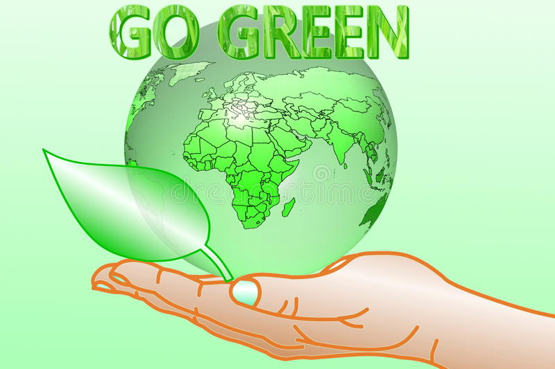 Go green Nature ecology organic concept with earth globe on hand royalty free illustration