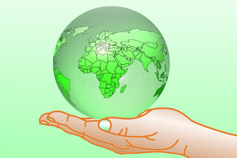 Go green Nature ecology organic concept with earth globe on hand stock illustration