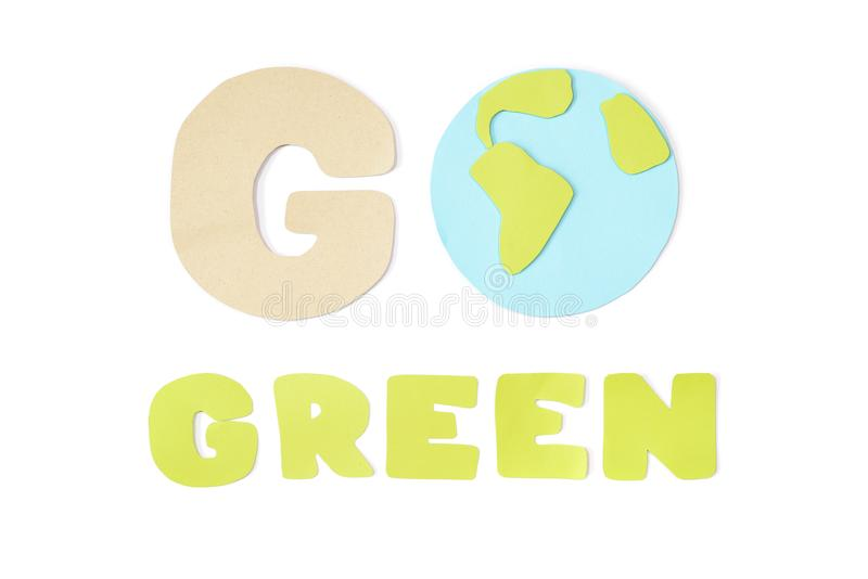 Go green paper cut on white background royalty free stock photo