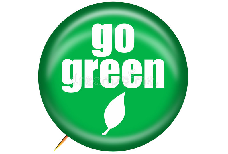 Go Green Pin. Graphic of Go Green pin promoting, environmentally friendly actions and products