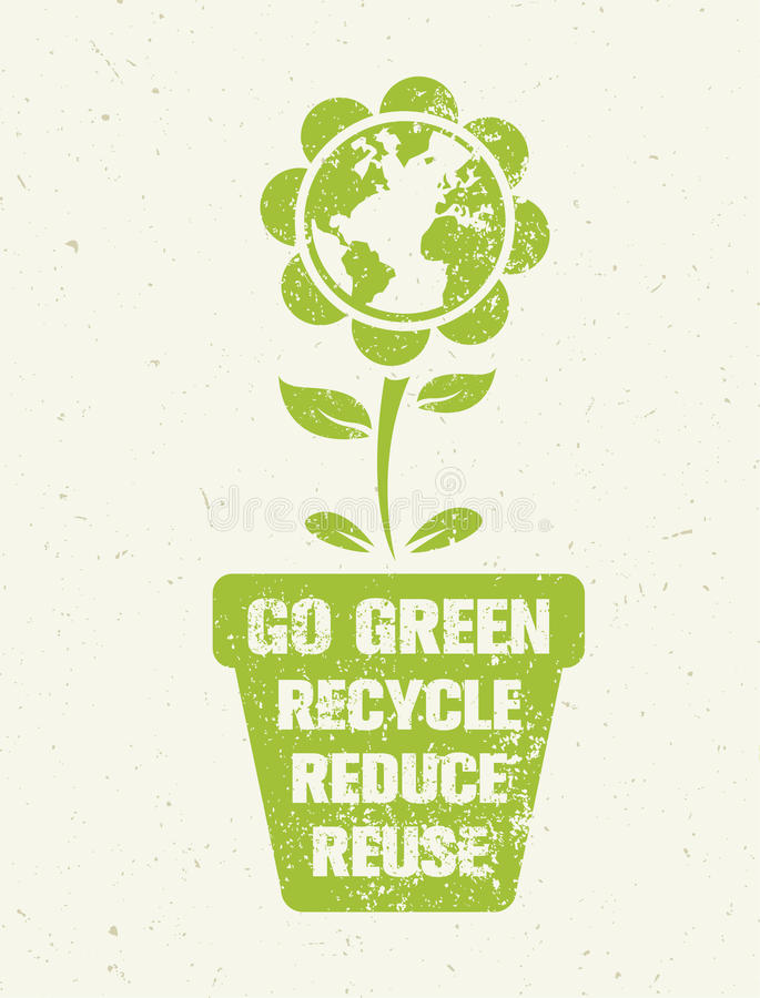 Go Green Recycle Reduce Reuse Eco Poster Concept. Vector ...