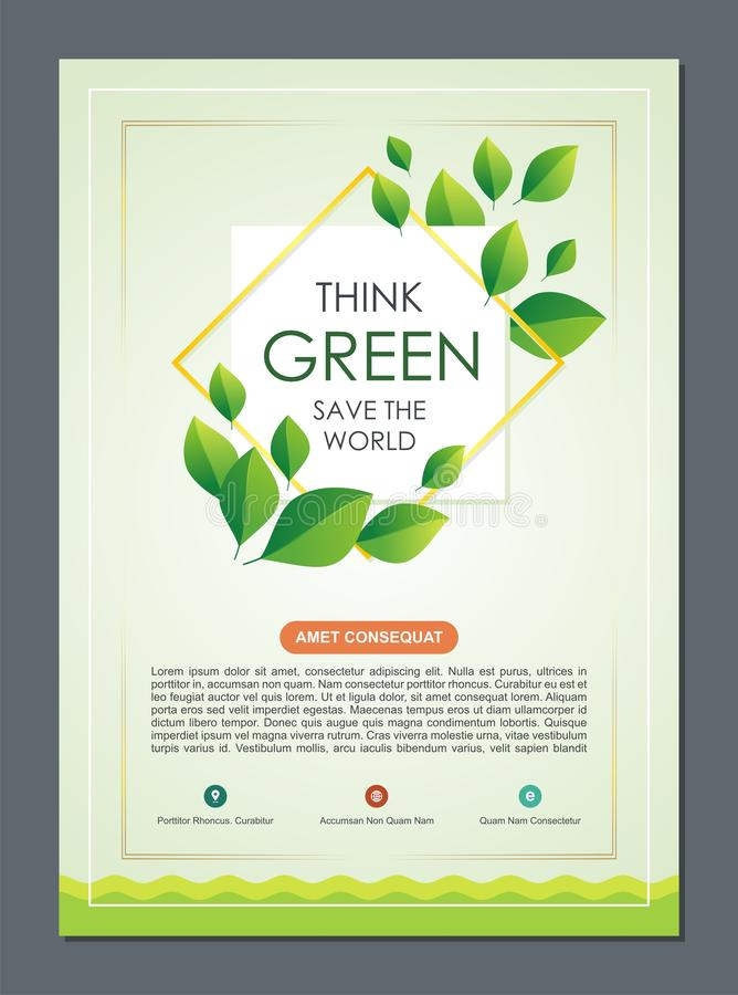 Go Green, Save Nature Flyer, Banner or Brochure. Suitable for Flyer, Brochure, book cover, and other which deals of concern for the environment and nature vector illustration