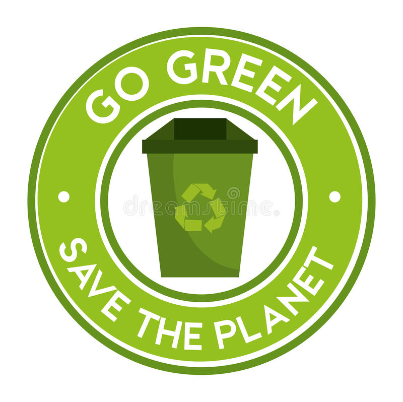 go green save the planet icon recycle stock illustration