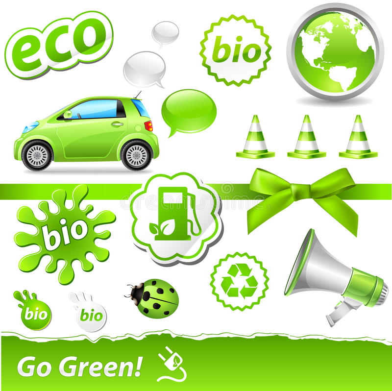 Go-green set. Vector go-green set with biofuel icons
