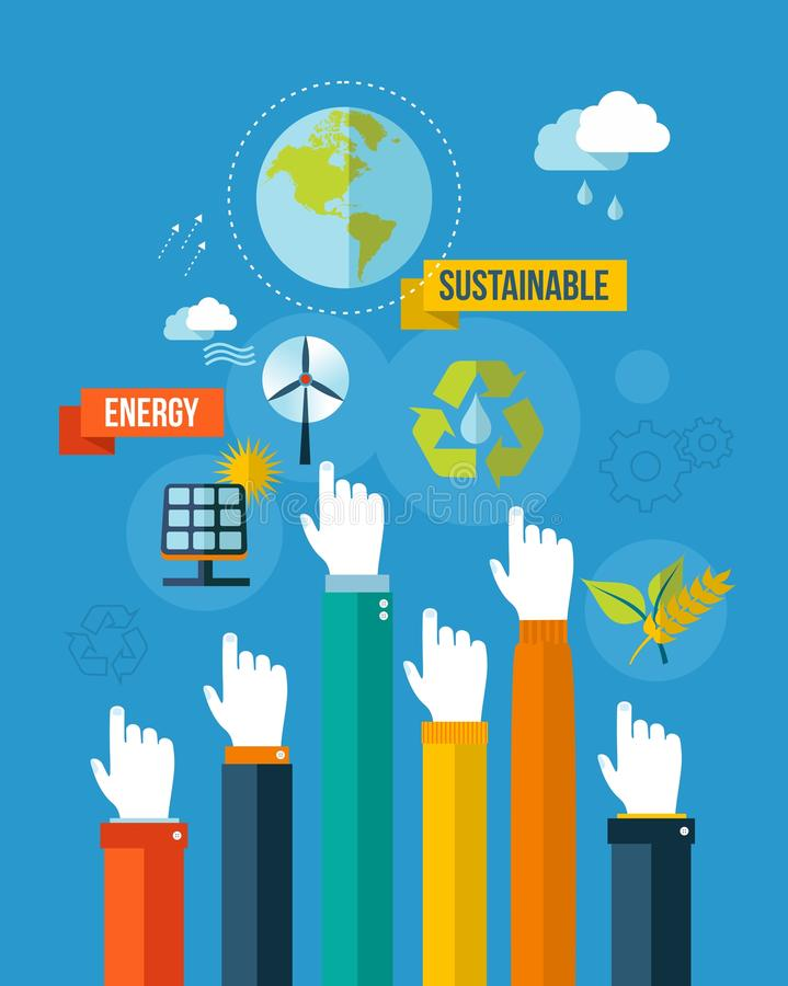 Go green sustainable energy concpet illustration. Global green environment and sustainable development hands with icons illustration background. EPS10 file stock illustration