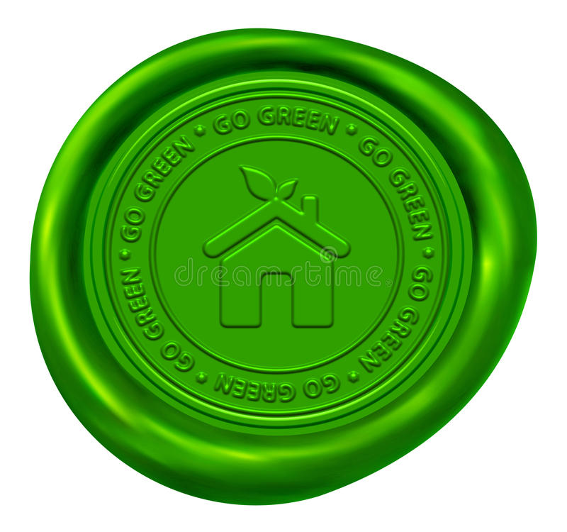 Go Green Wax Seal. Green Home Sign - Go Green Wax Seal vector illustration