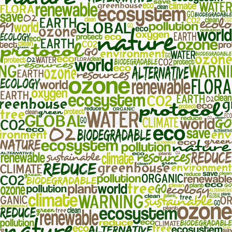 Go Green words seamless pattern royalty free illustration