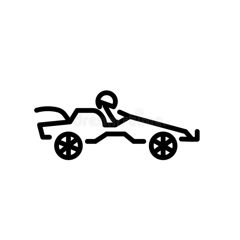 Go kart icon vector isolated on white background, Go kart sign , linear symbol and stroke design elements in outline style royalty free illustration