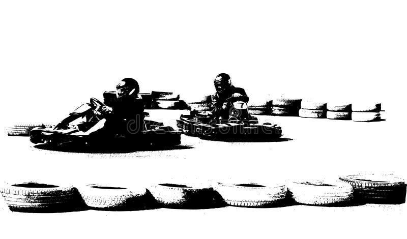 Go kart racing. Black and white go kart racing on circuit stock illustration