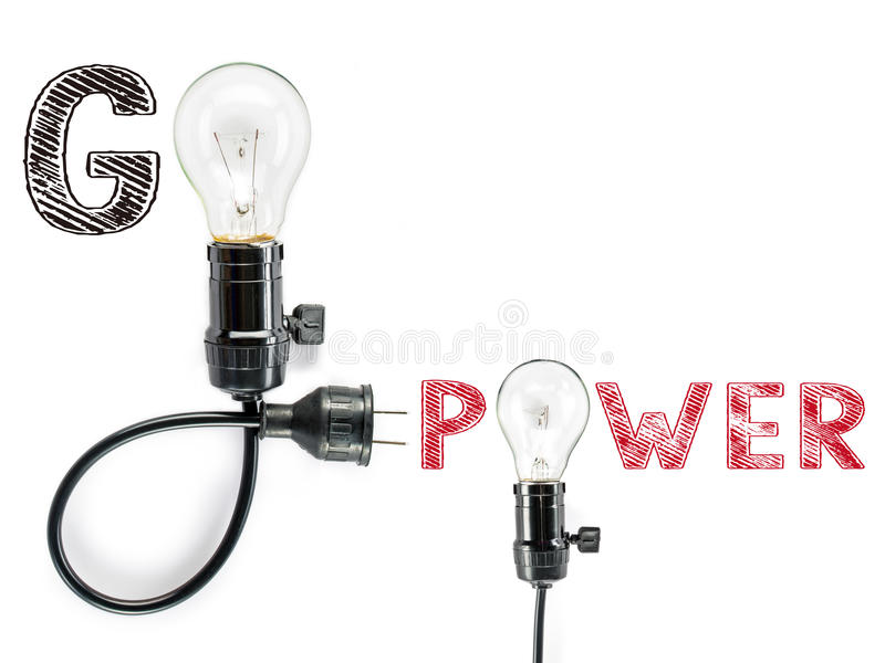 Go power phrase and light bulb, hand writing,electricity, energ stock photos
