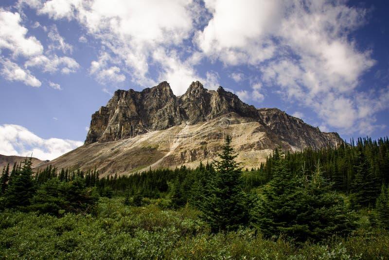 Go que caminha a fuga da skyline e para ver essa vista espetacular da montagem Tekarra em Rocky Mountains imagens de stock