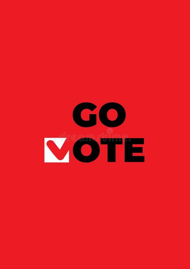 Go röstar affischen Röd symbol för kontrollfläckar royaltyfri illustrationer