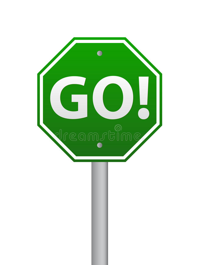 Go road sign. Green go road sign on white royalty free illustration