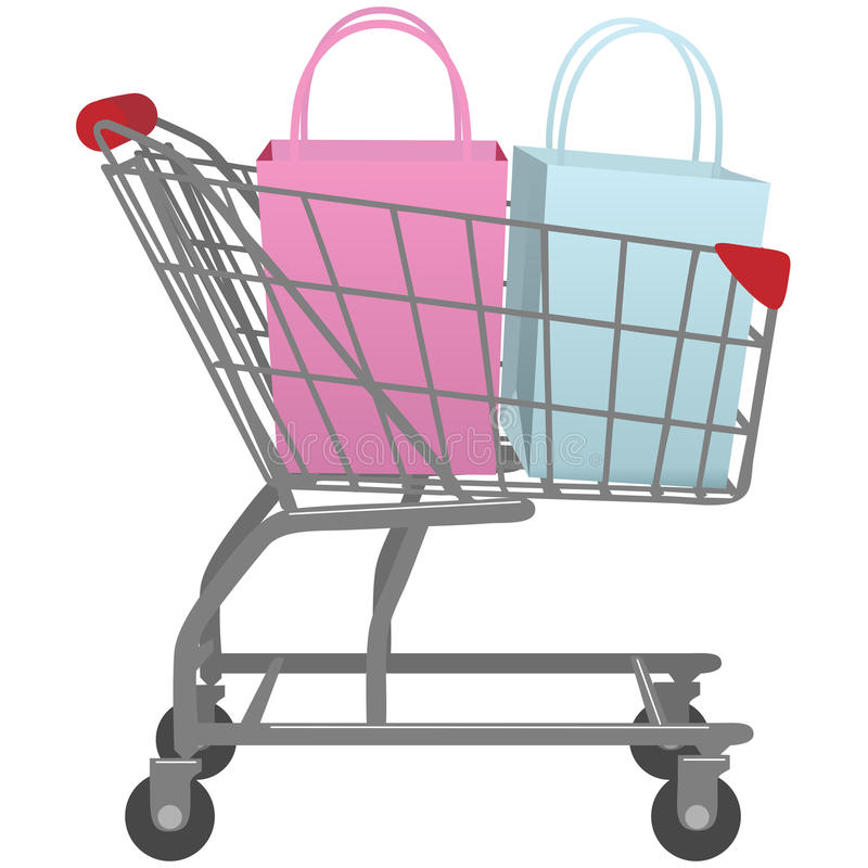 Download Go Shop With Cart Big Retail Shopping Bags Stock Photo - Image: 13644870