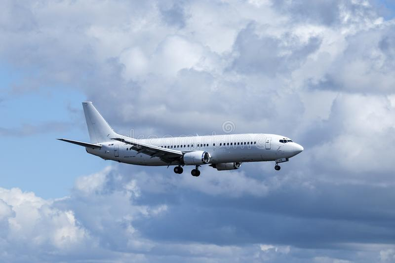 Go2Sky Slovak charter airline, Boeing 737 - 49R. Arlanda, Stockholm, Sweden - April 27, 2018: Go2Sky Slovak charter airline, Boeing 737-49R fly by and landing at royalty free stock image