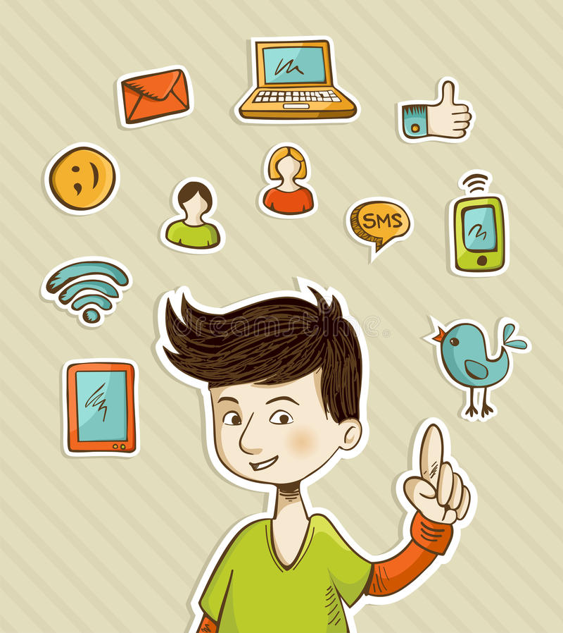 Go social teenager shows netwoks icons royalty free illustration