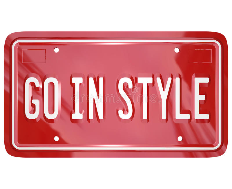 Go In Style Vanity License Plate Car Automobile Vehicle. A red vanity license plate for a car or other vehicle with the words Go in Style to illustrate vector illustration