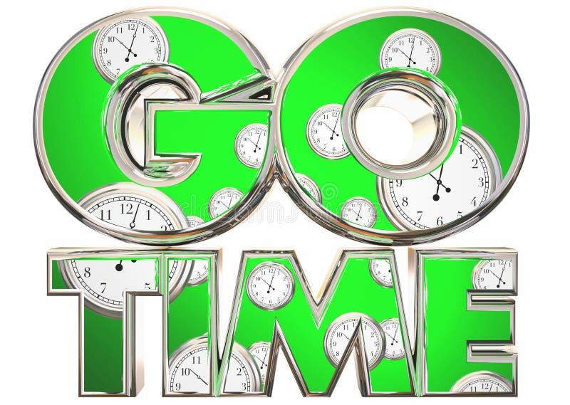 Go Time Start Begin Clocks Words. 3d Illustration vector illustration
