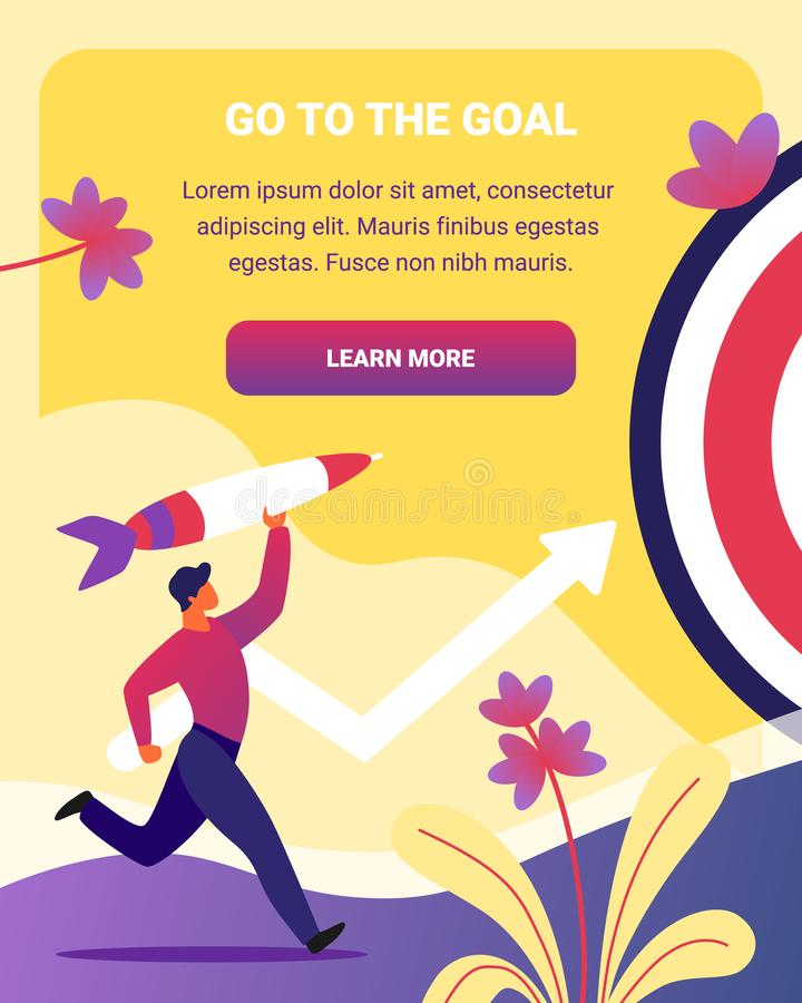 Go to the Goal Vertical Banner. Business Strategy,. Businessman Throw Rocket to Target, Business Aims Achievement, Mission, Opportunity and Challenge. Task vector illustration