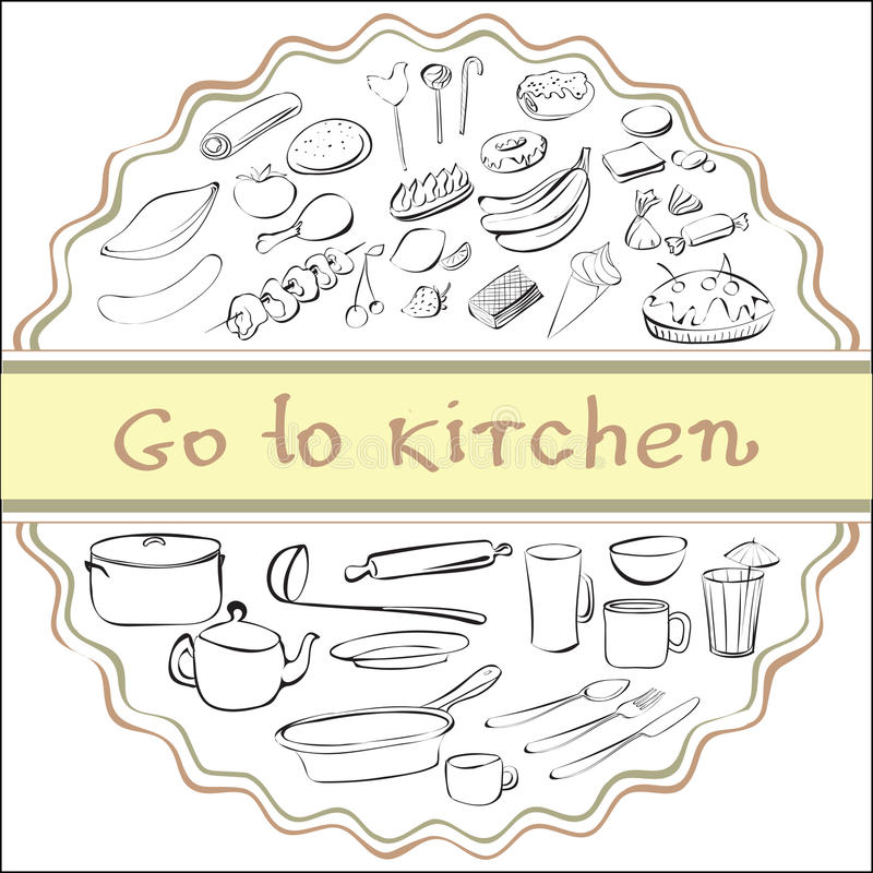 Go to kitchen stock illustration