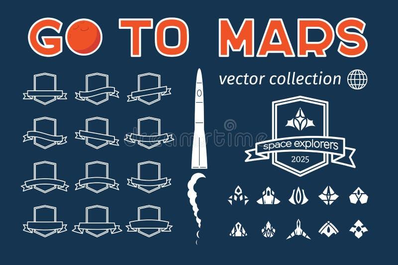 Go to Mars vector badges set vector illustration