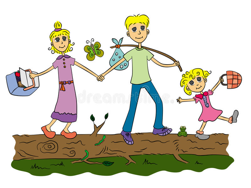 Go to picnic. A cute cartoon family about to have a picnic and walking on a big log stock illustration