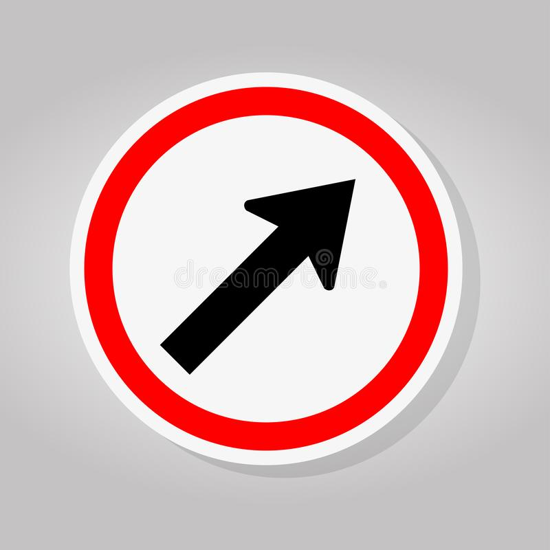 Go To The Right By The Arrow Traffic Road Sign Isolate On White Background,Vector Illustration royalty free illustration