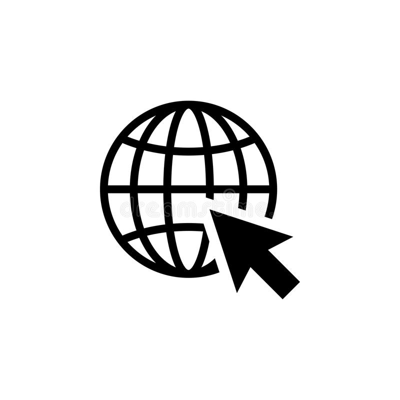 Go to web Icon in flat style. Internet symbol. Go to web Icon in flat style isolated on white background. Website pictogram. Internet icon in black. Earth symbol royalty free illustration