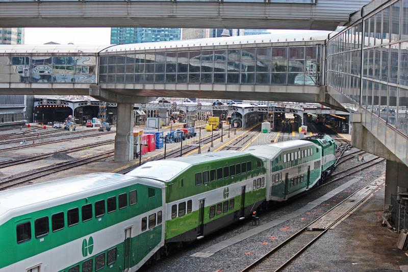 A GO Train Arriving At Union Station In Toronto royalty free stock photography