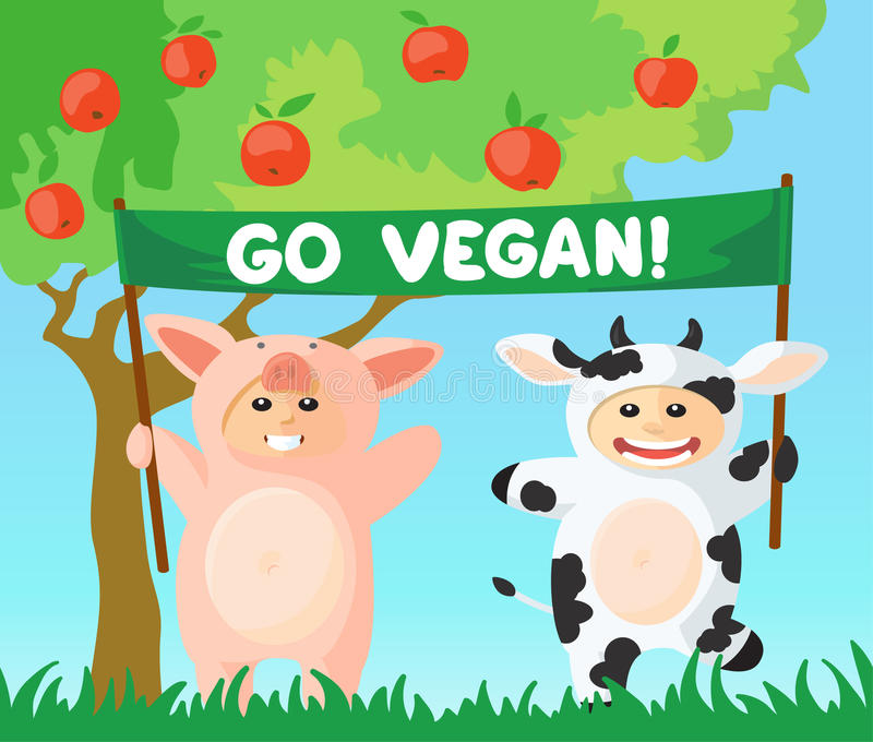Go vegan banner. Cow and pig with go vegan banner