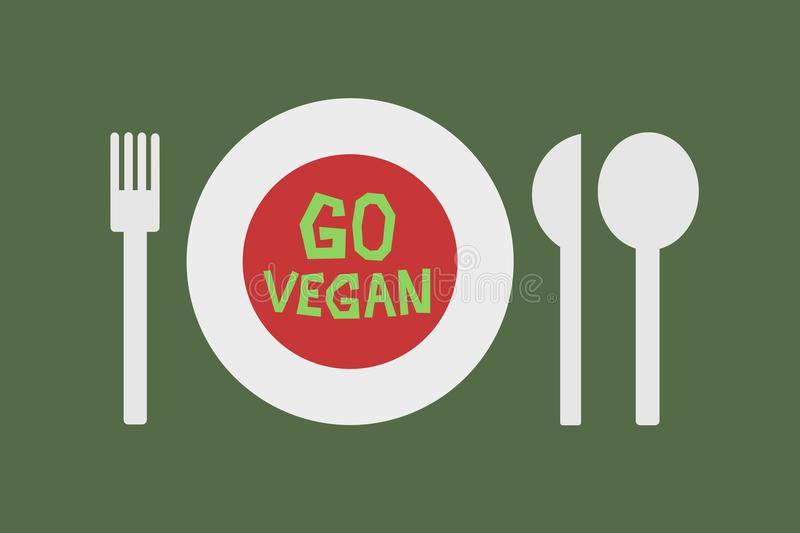 Go vegan - food is served on the plate. royalty free illustration