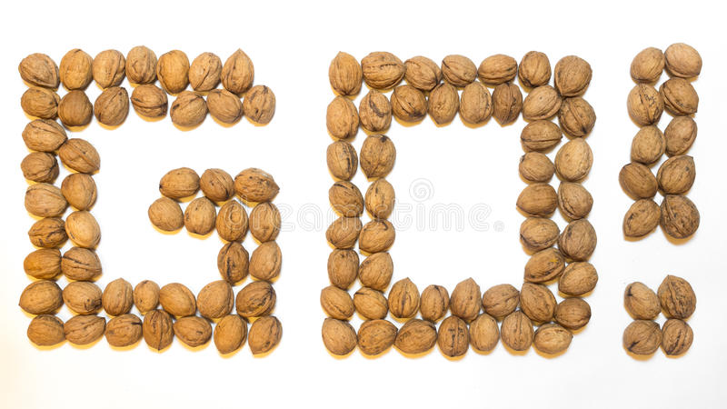 Go! of walnuts on a white background stock photography