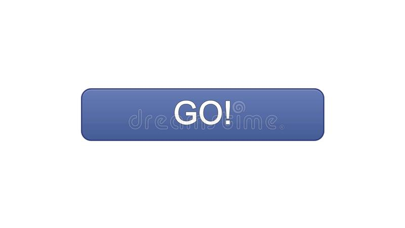 Go web interface button violet color, education development, site design. Stock footage stock illustration