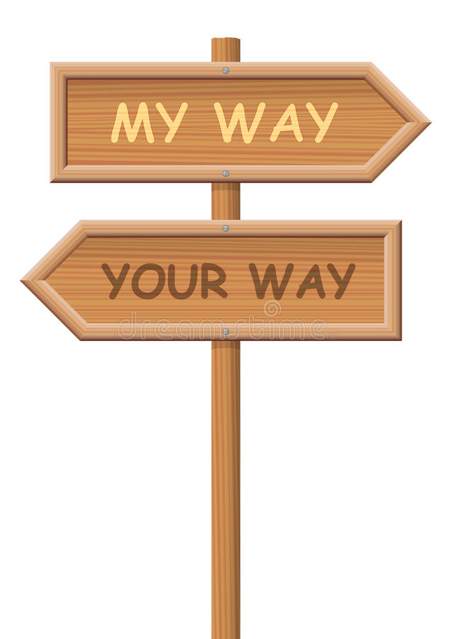 Go Your Own Way Signpost. Go your own way. Signpost, that says MY WAY and YOUR WAY, as a symbol for going separate ways, different routes, opposite directions vector illustration