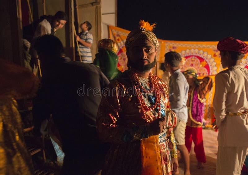 GOA, Индия, октябрь 2017: Неизвестный актер индийского theat деревни стоковая фотография rf