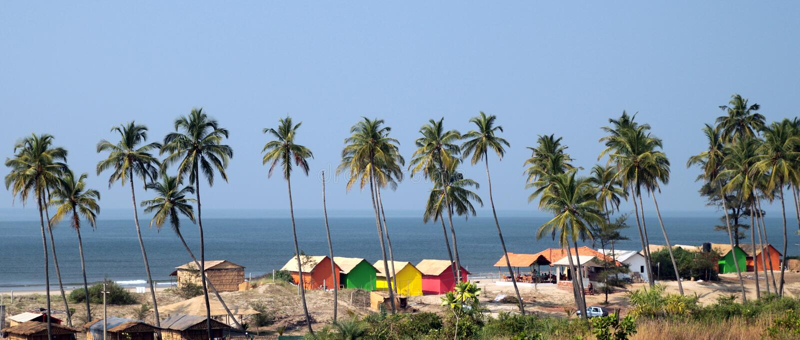 Download Goa beach stock photo. Image of trees, huts, lagoon, india - 12469754