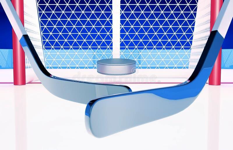 Goa! Bramkowi Hokejowi kije i płuczka przeciw tłu hokejowa brama ilustracji