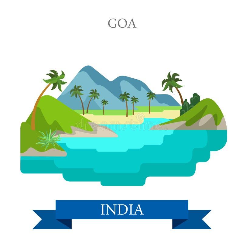 Goa en señales planas de la atracción del vector de la India stock de ilustración
