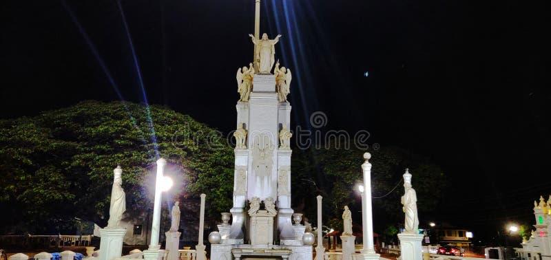 Goa, estátua, Jesus, oração, foto da noite foto de stock royalty free