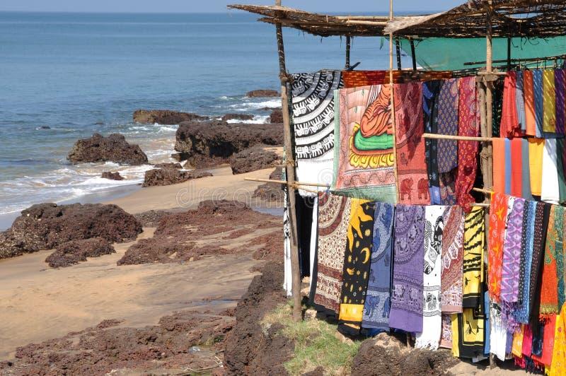 Goa: Fabric at flea market stock photography