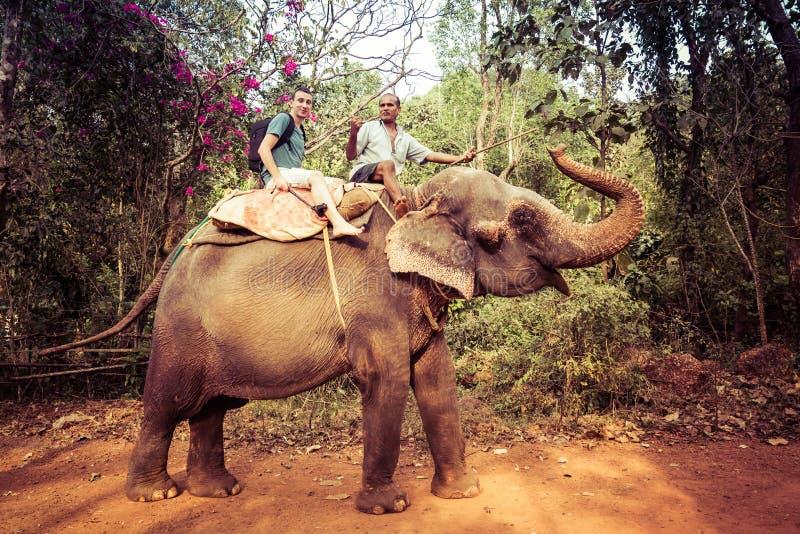Goa, Inde - 20 décembre 2018 : De touristes montant un éléphant d'Asie Réservation de Bhagavan Mahavir image libre de droits